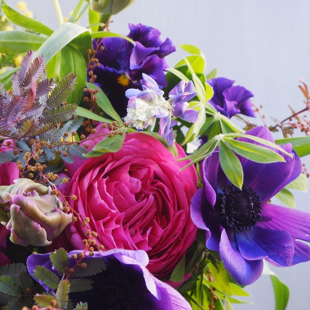 オークリーフ(イヴパッションとミモザの花束)_f0049672_15080399.jpg