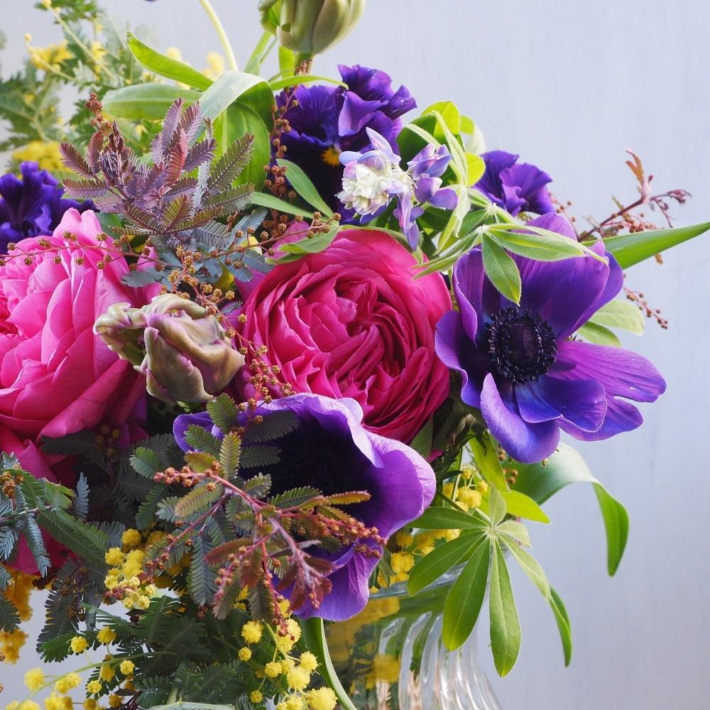 オークリーフ(イヴパッションとミモザの花束)_f0049672_15223160.jpg