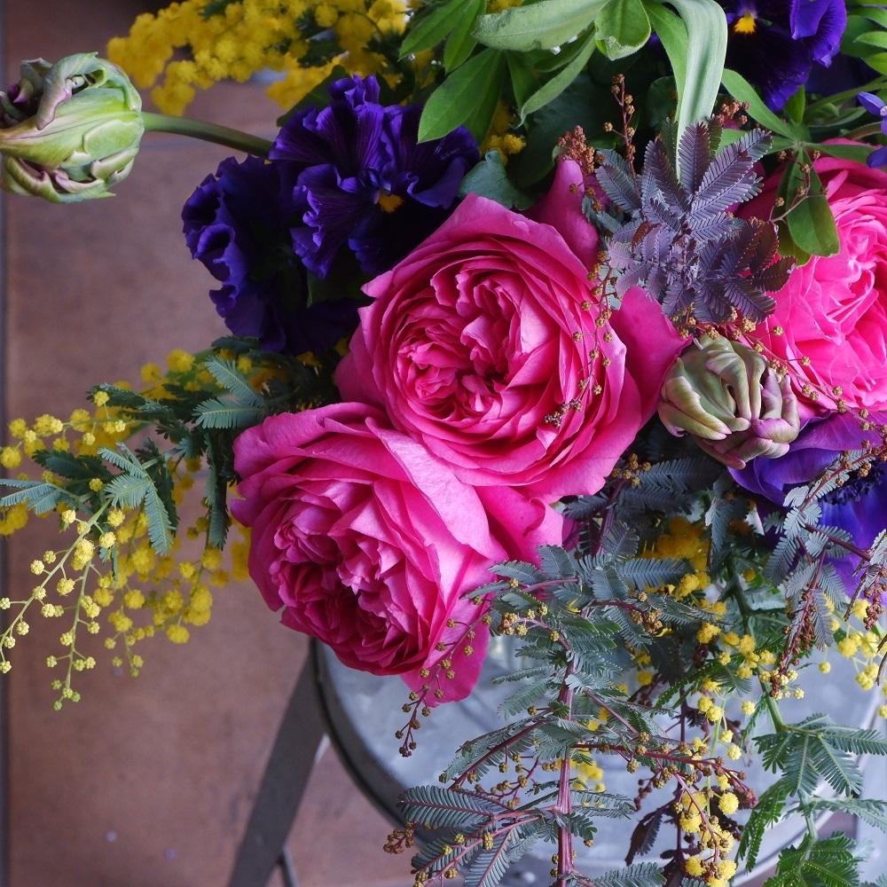 オークリーフ(イヴパッションとミモザの花束)_f0049672_15223483.jpg