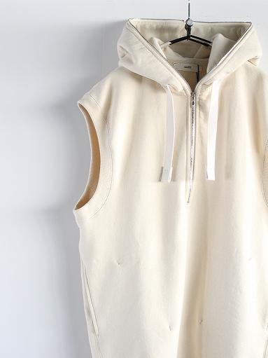 unfil paper & cotton-terry sleeveless hoodie / ecru_b0139281_18101085.jpg
