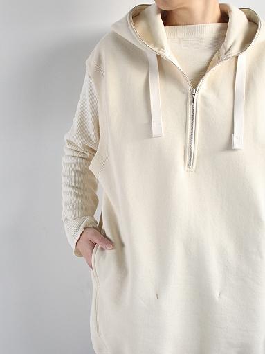 unfil paper & cotton-terry sleeveless hoodie / ecru_b0139281_18101963.jpg