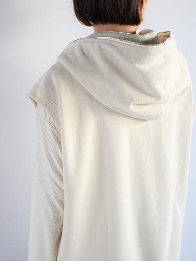 unfil paper & cotton-terry sleeveless hoodie / ecru_b0139281_18103861.jpg