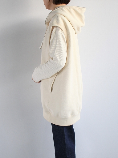 unfil paper & cotton-terry sleeveless hoodie / ecru_b0139281_1891626.jpg