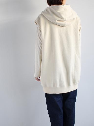 unfil paper & cotton-terry sleeveless hoodie / ecru_b0139281_1892441.jpg