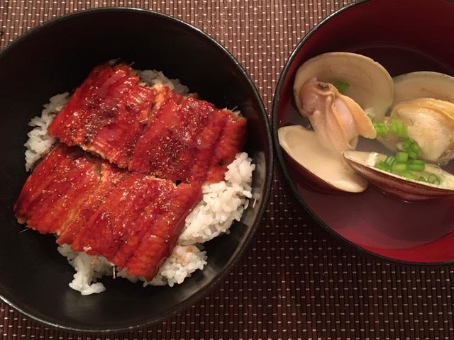 ハマグリの潮汁と鰻丼_e0350971_15220469.jpg