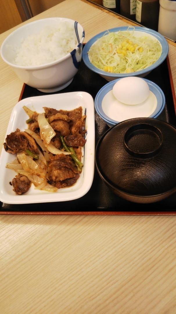 松屋 お肉大盛牛とじ&プルコギ定食生玉子_f0076001_23321244.jpg