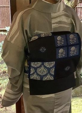 新年会のお客様・作家さんの着物と藍染木屋太帯。_f0181251_18050948.jpg