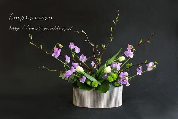 定期装花から スイートピー:グレース_a0085317_21213655.jpg