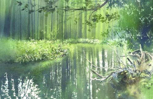 水彩画 反映 リフレクション_f0176370_14254764.jpg