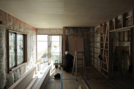 「駒場の家」天井杉板張り_b0179213_19064820.jpg