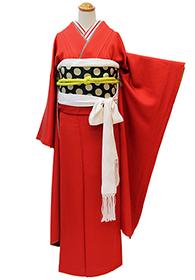 成人式のお客様⑪真っ赤な無地振袖のモダンあでやか着こなし_b0098077_14153548.jpg
