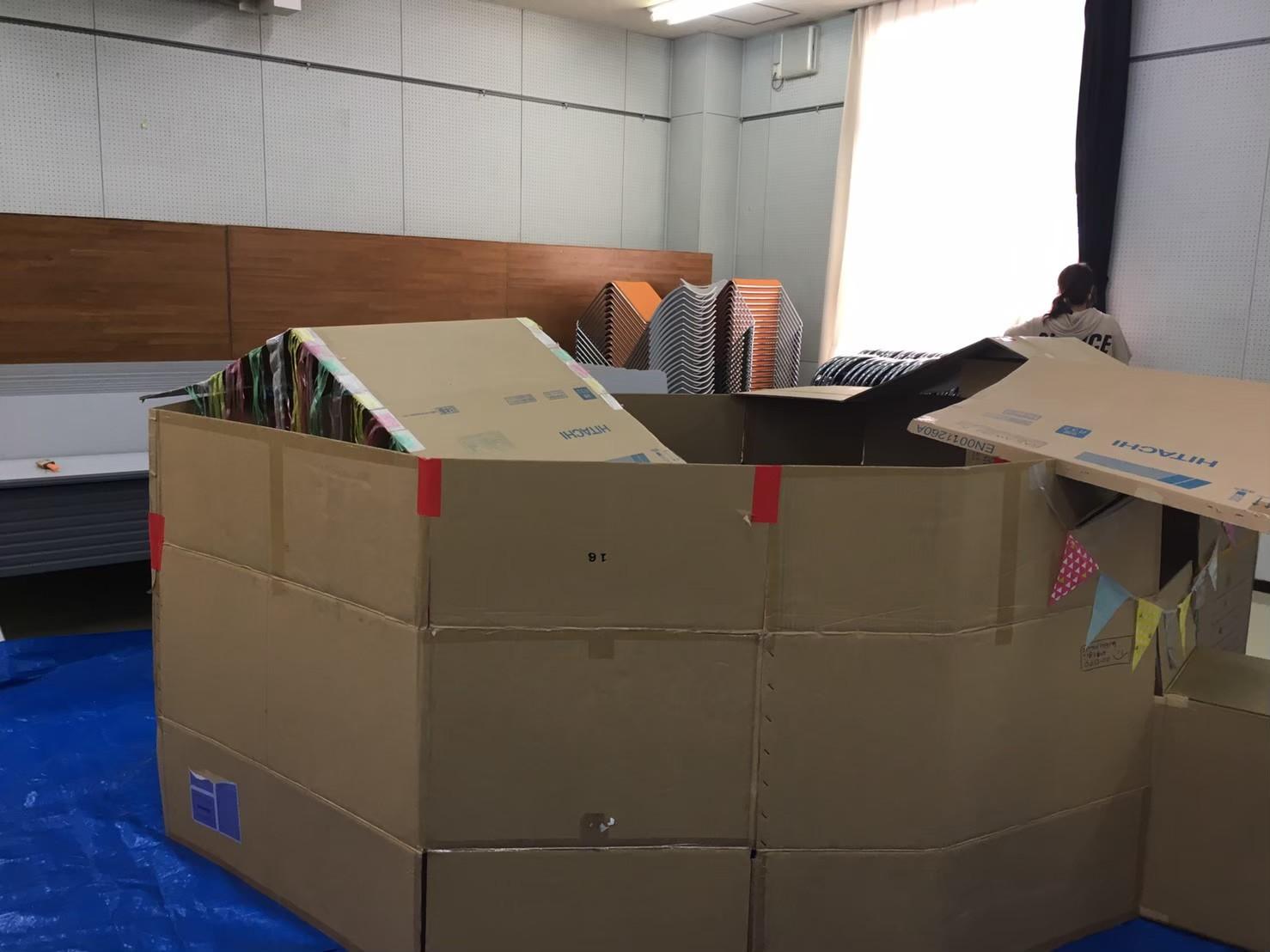 2019/9/8 ダンボールハウス作り_e0123469_20123805.jpg