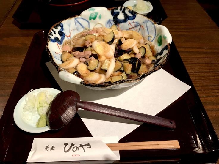 きざみ鴨と茄子のぶっかけ蕎麦@ひのや_c0212604_131551.jpg