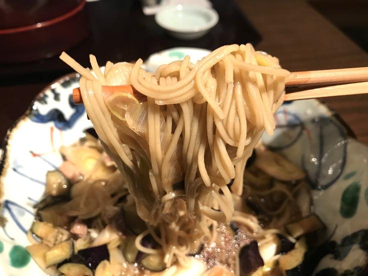 きざみ鴨と茄子のぶっかけ蕎麦@ひのや_c0212604_132334.jpg