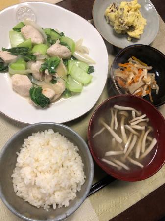 鶏肉とチンゲン菜の炒め物_d0235108_21373593.jpg