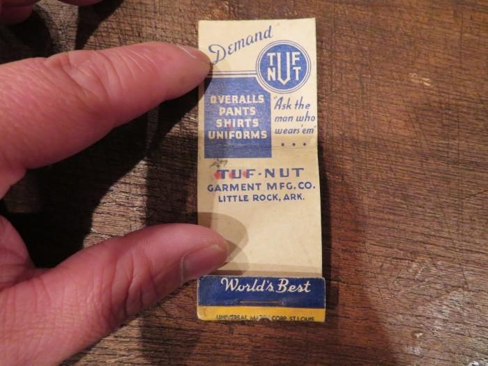 Vintage TUF NUT Advertising  Matchbook Cover_e0187362_11252212.jpg