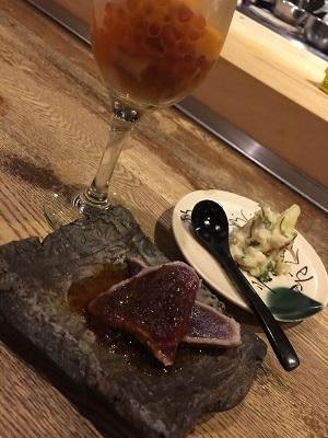 鉄板酒菜 ぶりお de 念願のうにパフェ~♪_e0123286_19120371.jpg