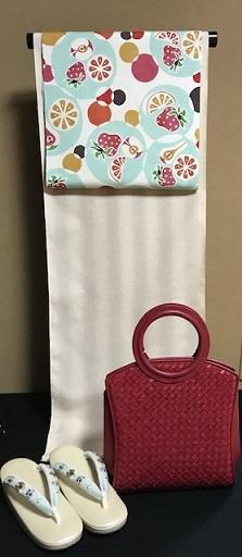 石下結城紬のフルーツ帯を着物・小物とコーディネイト。_f0181251_19030953.jpg