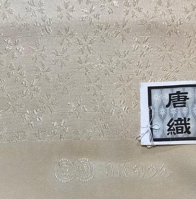 商品紹介・縞の御召+しょうざん生紬一珍染桜の帯。_f0181251_18495441.jpg