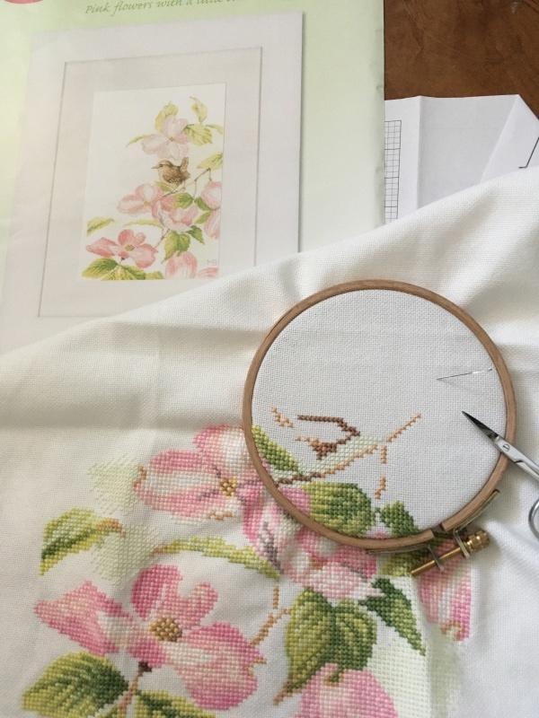 pink flowers with a little bird  ③_a0374562_15453054.jpeg