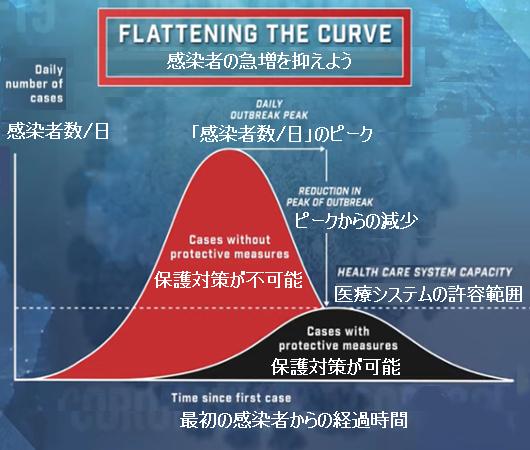 わかりやすいイメージ図、Flattering The Curve(新型コロナウィルス感染者の急増を抑えよう)_b0007805_04502119.jpg