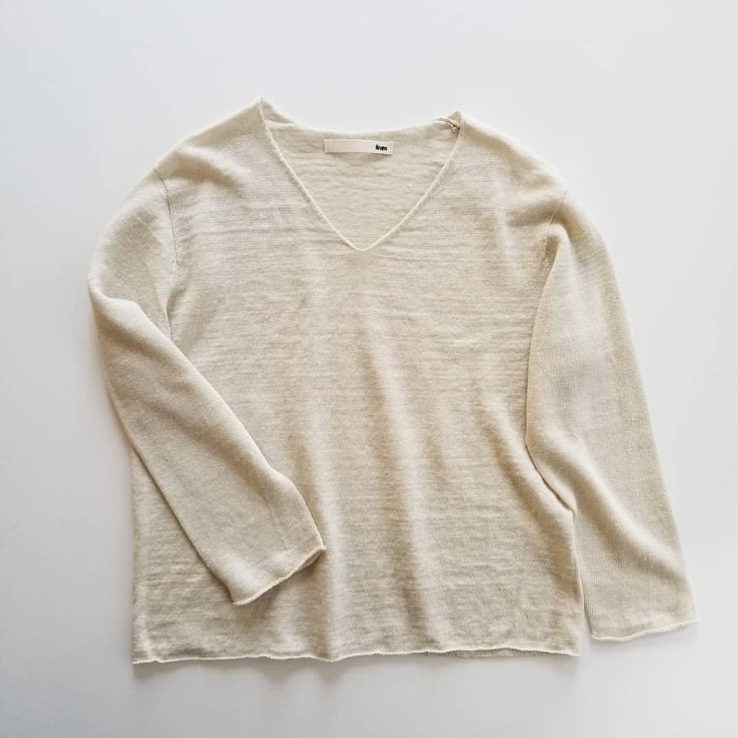 evam evadry cotton pulloverwashable linen V necked pullover_f0120026_08222143.jpg
