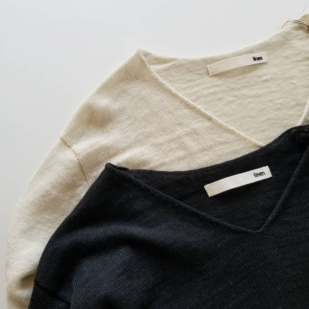 evam evadry cotton pulloverwashable linen V necked pullover_f0120026_08222145.jpg