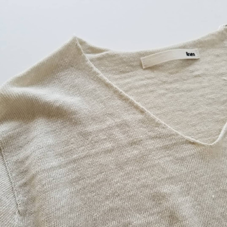 evam evadry cotton pulloverwashable linen V necked pullover_f0120026_08222197.jpg