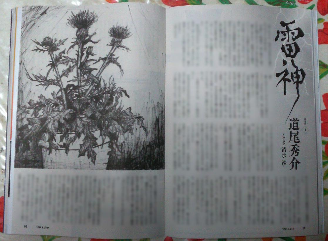 週刊新潮「雷神」挿絵 第1回〜10回_b0136144_16402739.jpg