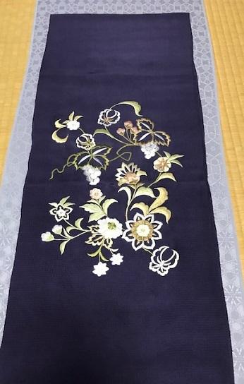 商品紹介・岡重南蛮染帯+豪華な刺繍の帯揚や小物。_f0181251_18204670.jpg