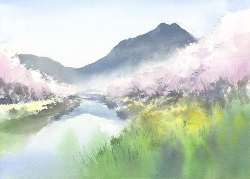 桜 水彩画_f0176370_17065243.jpg