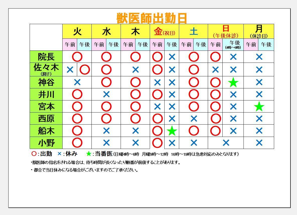 今週の獣医師勤務表(3月10日~3月16日)_c0174644_09550921.jpg
