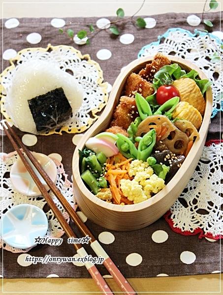 チキンカツ・すっぱ梅入りむすび弁当とペーパーホワイト水仙♪_f0348032_16495127.jpg
