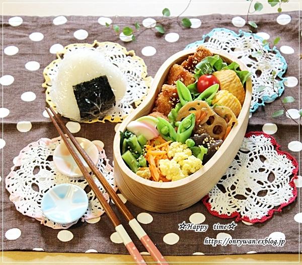チキンカツ・すっぱ梅入りむすび弁当とペーパーホワイト水仙♪_f0348032_16495919.jpg
