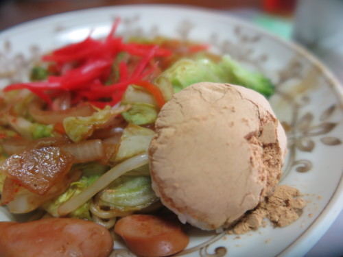 朝:温野菜、焼餅、バナナ&飲むヨーグルト 昼:焼きそば、きな粉団子御飯 夜:焼きそば、きな粉団子御飯_c0075701_20523359.jpg