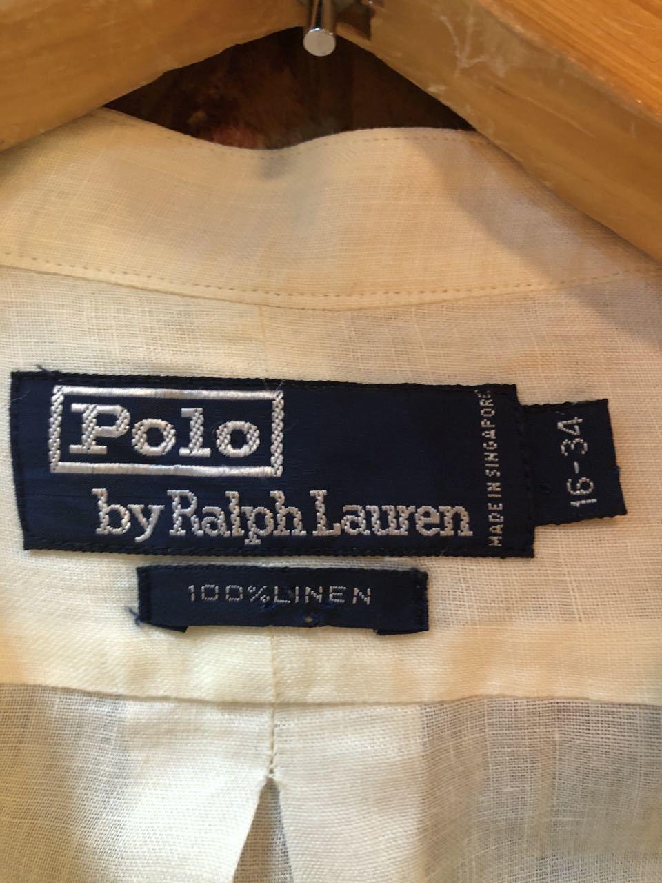 3月22日(日)入荷!90s〜Ralph Lauren ラルフローレン ノーカラー リネンシャツ!_c0144020_18121490.jpg