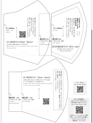 リネンとガーゼで作る大人用立体マスク(自宅用)型紙に英語表記追加しました♪_f0023333_22295708.jpg