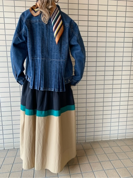 QUINOA BOUTIQUE◆10ozデニムプリーツJacket◆_e0269968_11525306.jpg