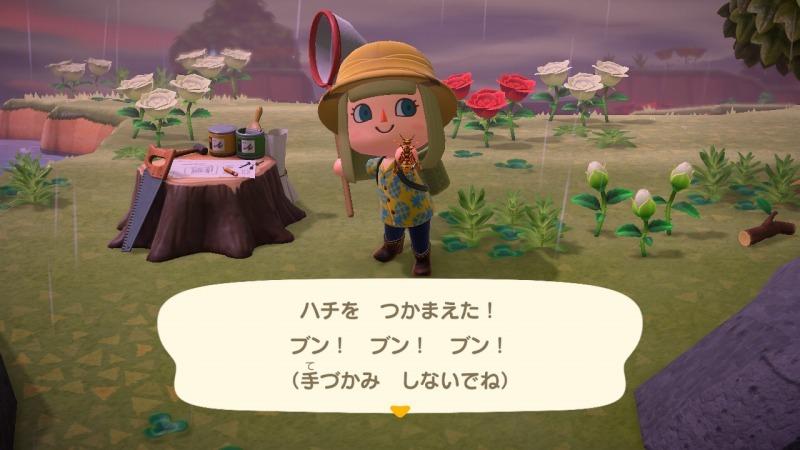 ゲーム「あつまれどうぶつの森 はしご入手したぜー&ハチの捕まえ方」_b0362459_23011975.jpg