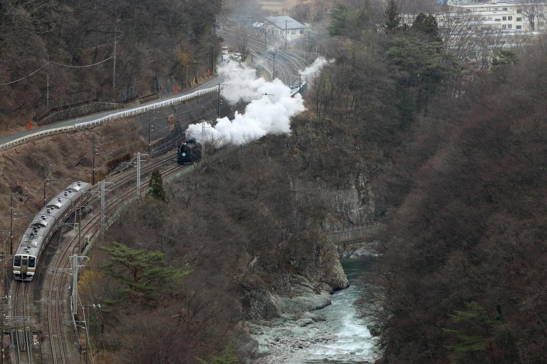 黒い機関車とステンレスの電車が諏訪峡ですれ違った - 2020年晩冬・上越線 -_b0190710_22364922.jpg