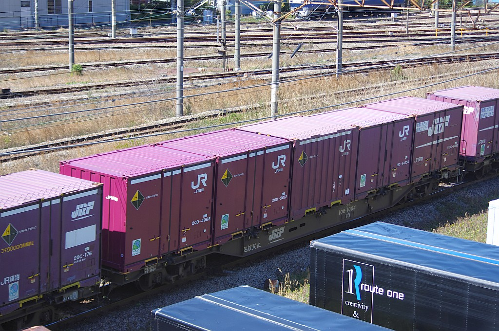 3/20東京貨物ターミナル着5052レのコキとコンテナ_f0203926_2364629.jpg