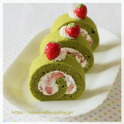 4月のお菓子・抹茶スフレロール_a0392423_22490781.jpg