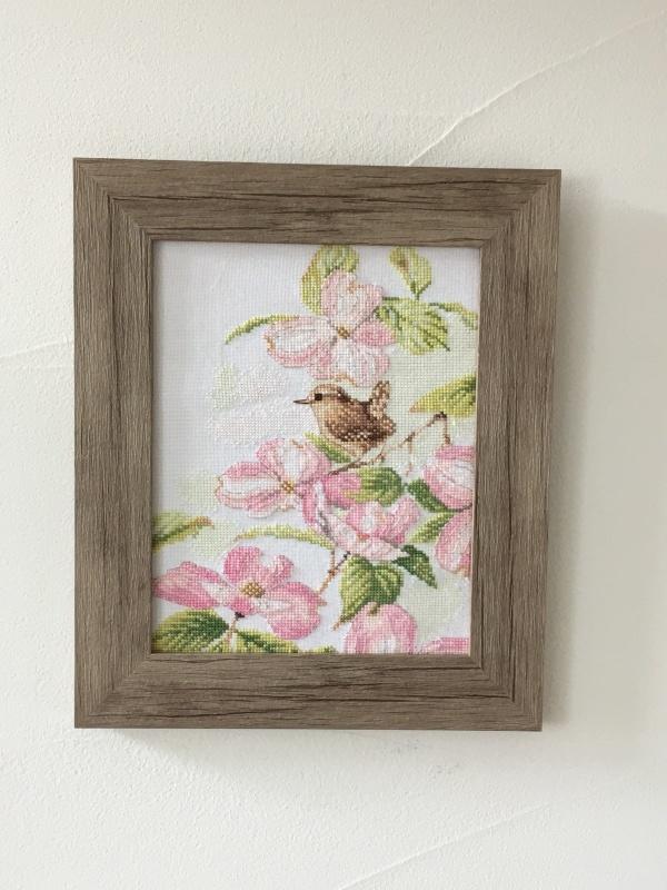 額装  pink of flowers with a little bird_a0374562_12251947.jpeg
