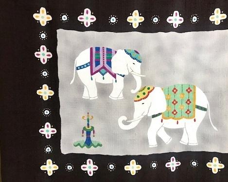 商品紹介・愛らしい象の染め帯+信州・上田紬。_f0181251_18412333.jpg