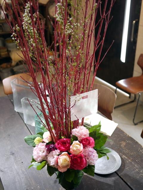 歓迎のアレンジメント。澄川3条にお届け②。「ピンク系、大人っぽく、優しい感じ」。2020/03/24。_b0171193_17141096.jpg