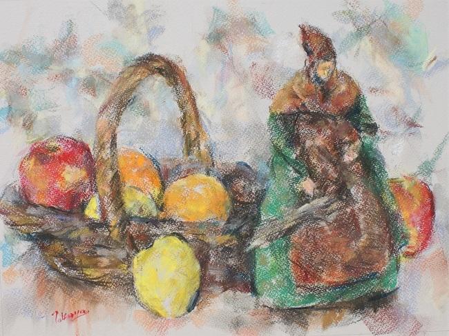 サントン人形と果物籠_c0236929_20520201.jpg