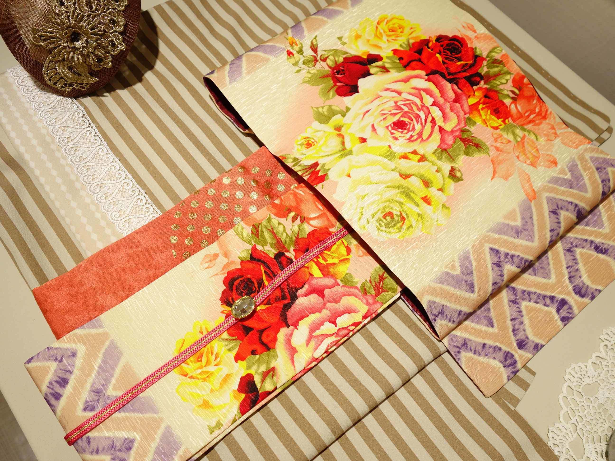 正絹名古屋帯「花丸紋」・「薔薇とダイヤ」再入荷♪_e0167832_13300458.jpg