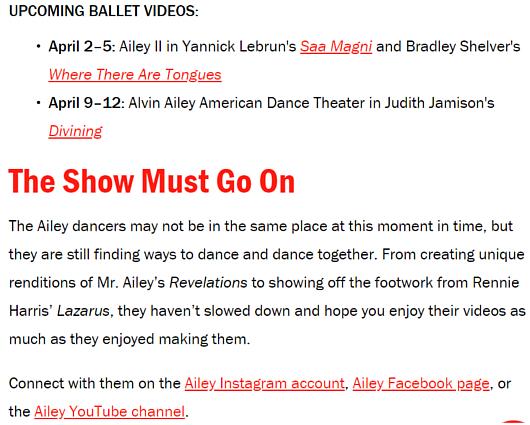 NYの老舗ダンス・カンパニーも、公演やダンス・クラスを期間限定で無料配信!_b0007805_09100712.jpg