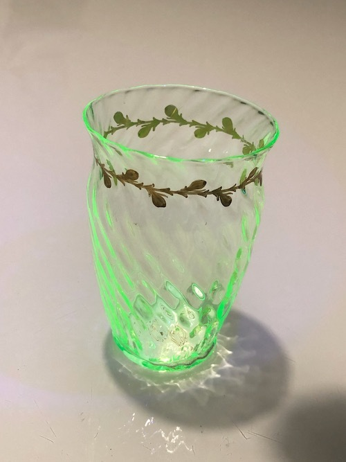 Emile Galle Gold Paint Glass Green No:2_c0108595_23142649.jpeg