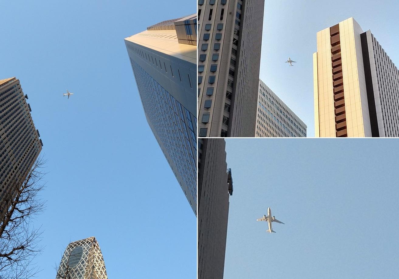都心上空に飛行機が次々と_a0057402_05154471.jpg